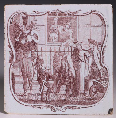 An Early Sadler Printed Delft Tile C1760