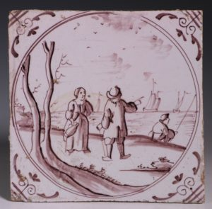 English Manganese Delft Tile C1750