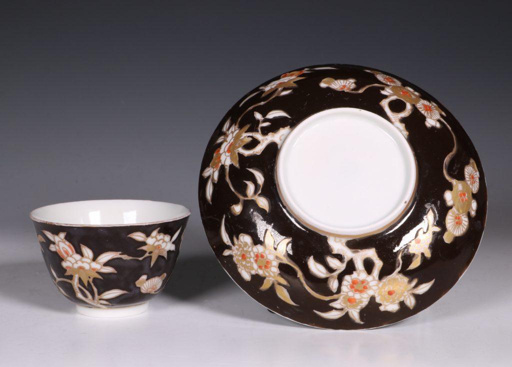 A Rare Japanese Arita Black Ground Teabowl and Saucer E18thC 2