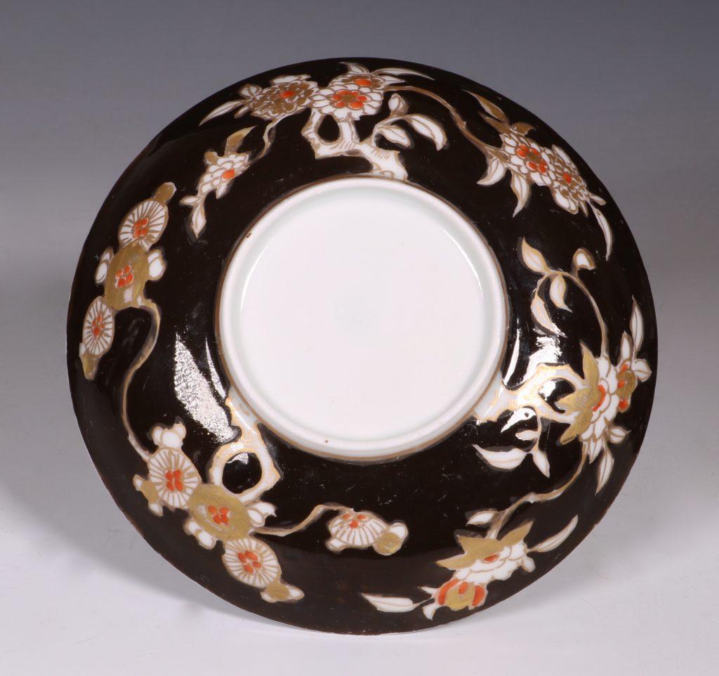 A Rare Japanese Arita Black Ground Teabowl and Saucer E18thC 3