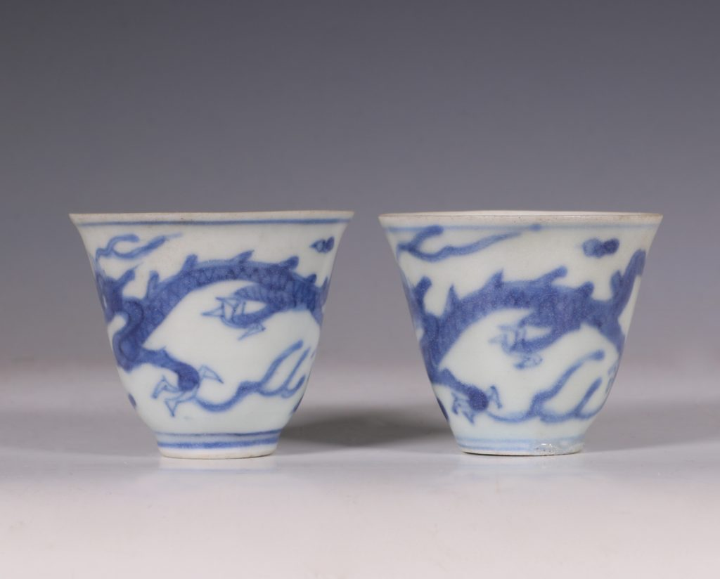 Pair of Blue and White Hatcher Wine Cups Transitional C1643/6 1