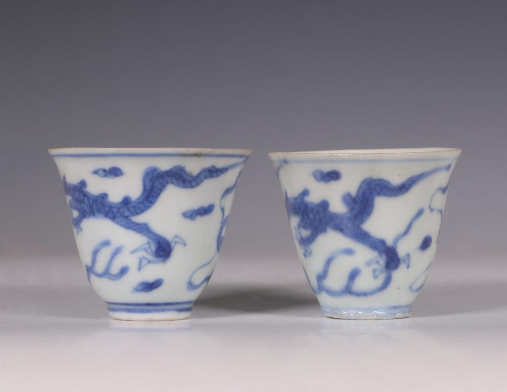 Pair of Blue and White Hatcher Wine Cups Transitional C1643/6 2