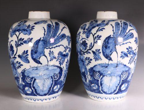 Pair of Dutch Delft Peacock Vases 18thC