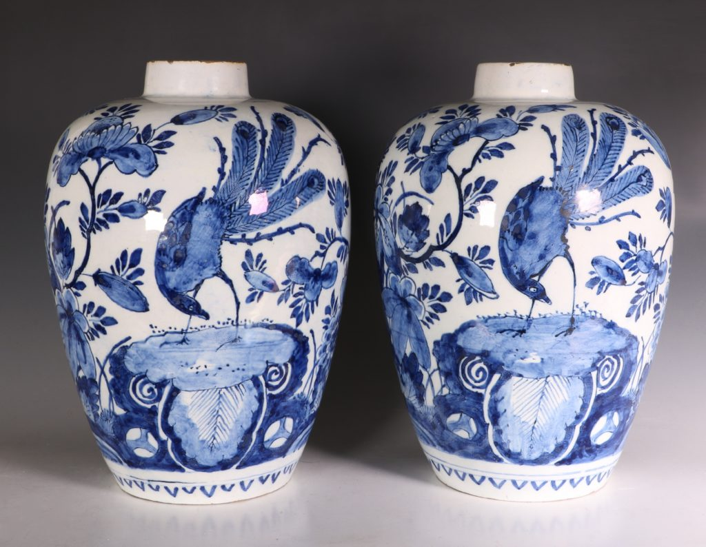 Pair of Dutch Delft Peacock Vases 18thC 1