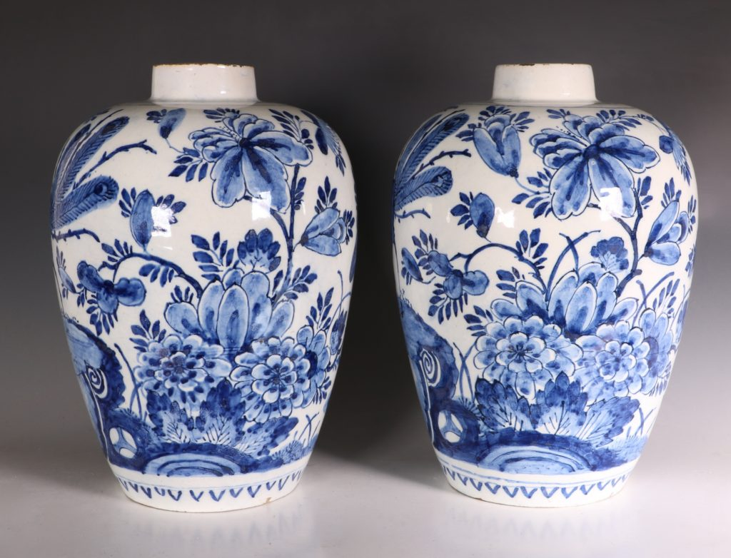 Pair of Dutch Delft Peacock Vases 18thC 2