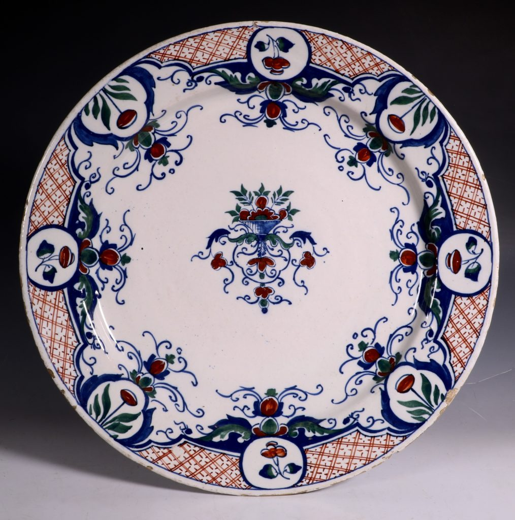 English Polychrome Delft Charger C1730/40