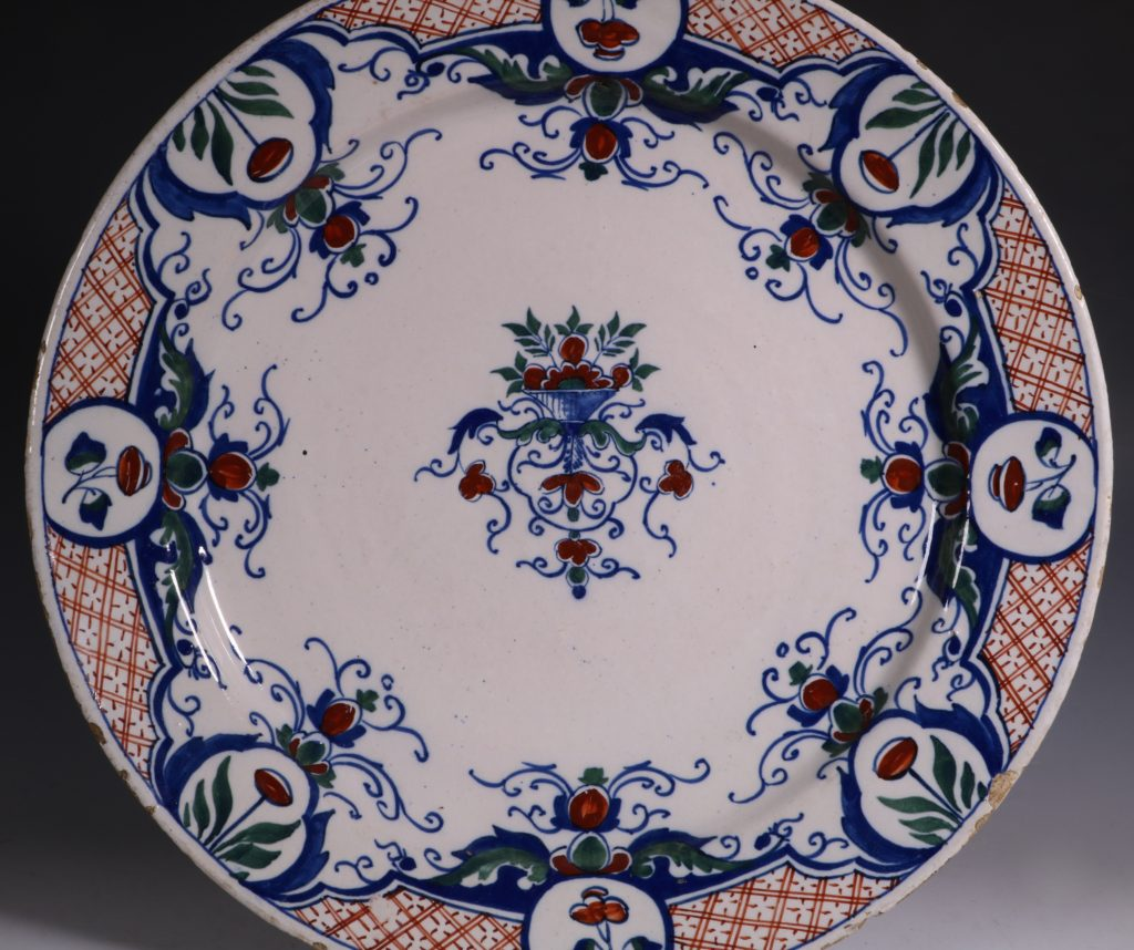 English Polychrome Delft Charger C1730/40 1