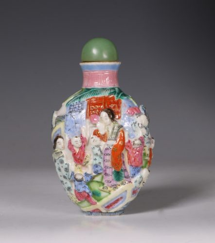A Moulded Famille Rose Snuff Bottle 19thC