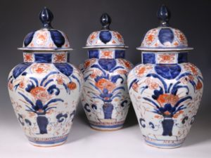 A Garniture Of Three Japanese Imari Vases L17thC