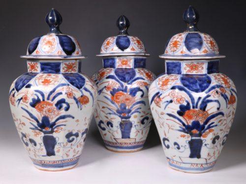 A Garniture Of Three Japanese Imari Vases L17thC