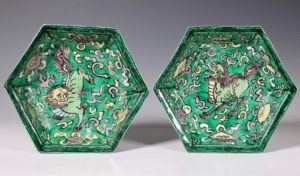 Pair Of Kangxi Biscuit Dishes L17thC