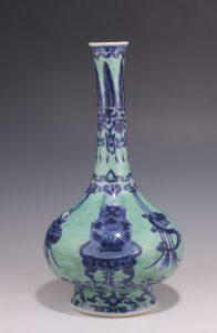 Rare Chinese Green Ground Blue and White Vase Kangxi C1700
