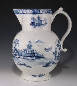 Lowestoft Relief Moulded Blue and White Cider Jug C1765