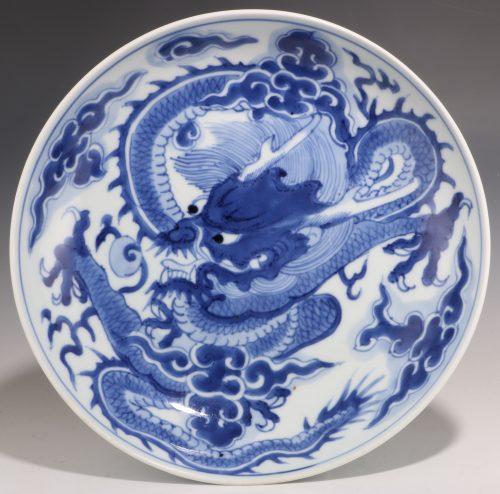 Chinese Blue and White Dragon Dish Yongzheng Mark and Period
