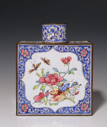Fine Chinese Canton Enamel Tea Caddy and Cover 18thC