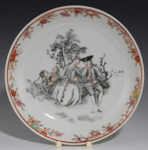 Chinese Grisaille Saucer Qianlong 18thC