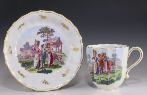 Worcester Onglaze Printed and Enamelled Cup and Saucer C1770