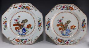Pair of Chinese Famille Rose Plates Qianlong C 1750