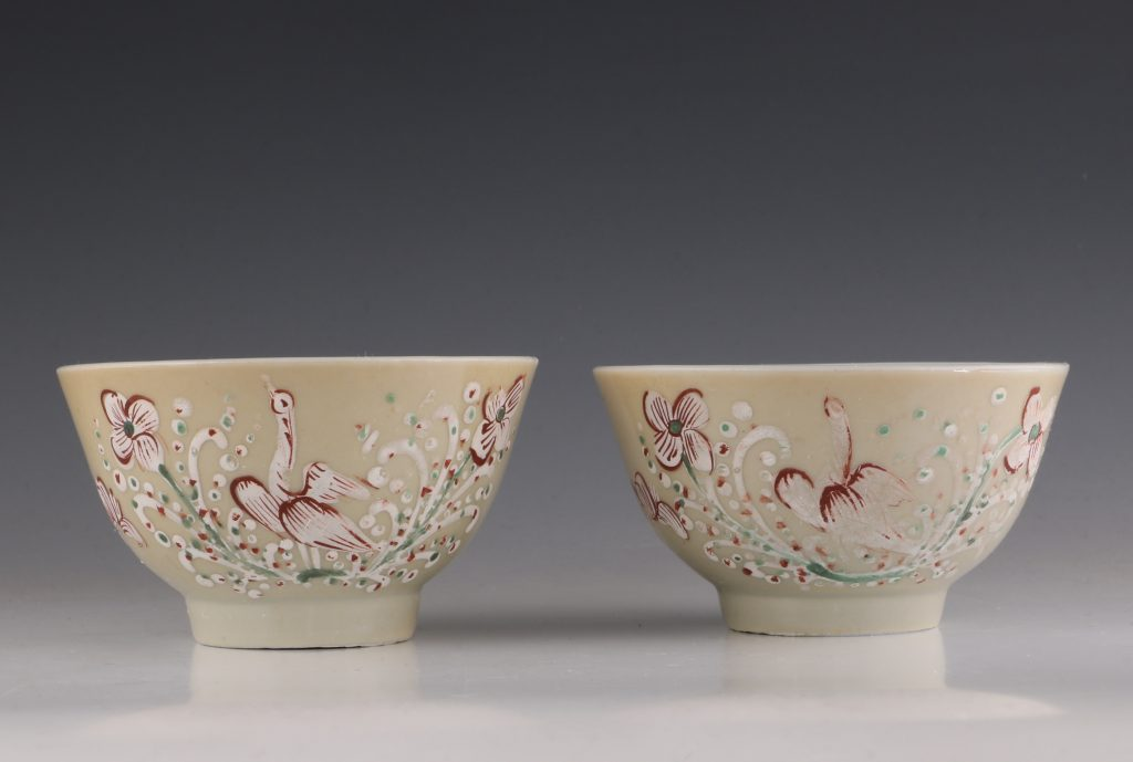 Pair of London Decorated Chinese Tea Bowls C1690-1710