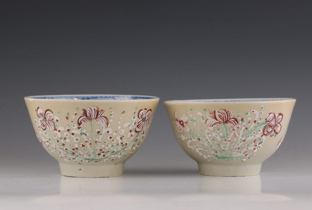 Pair of London Decorated Chinese Tea Bowls C1690-1710 1