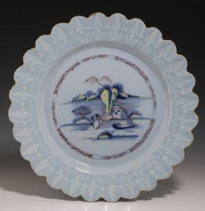 English Polychrome Lobed Delft Plate C1760