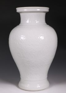 A Large Carved White Glazed Vase 18thC