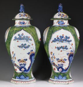Pair of Dutch Green Ground Delft Vases 18thC