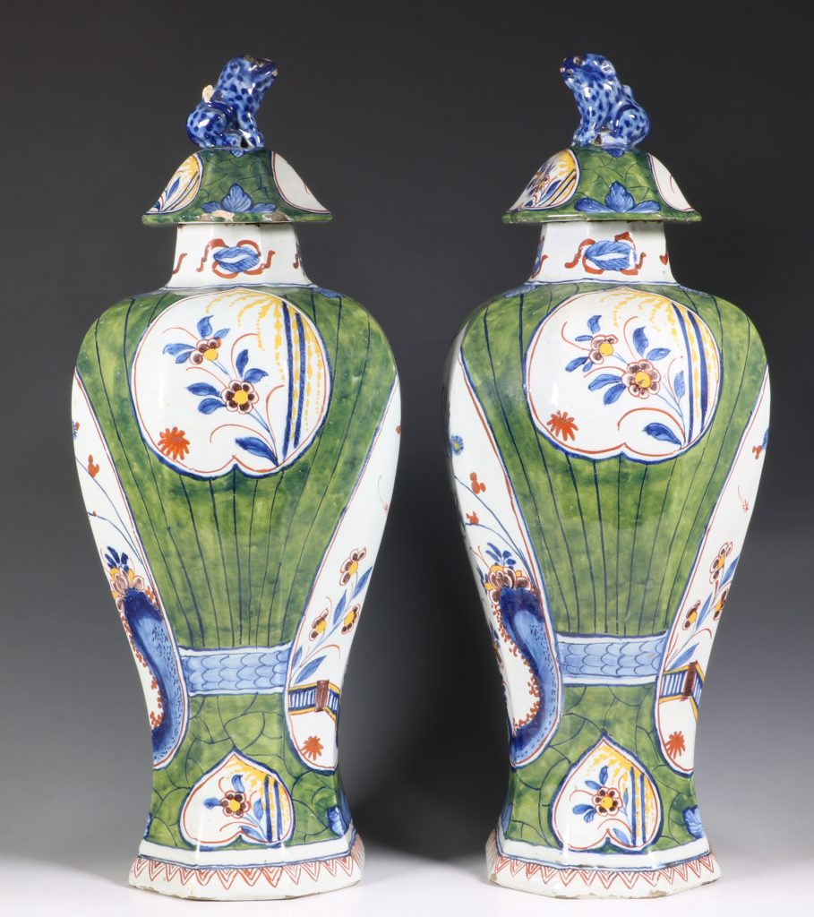 Pair of Dutch Green Ground Delft Vases 18thC 2