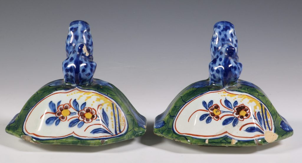 Pair of Dutch Green Ground Delft Vases 18thC 11