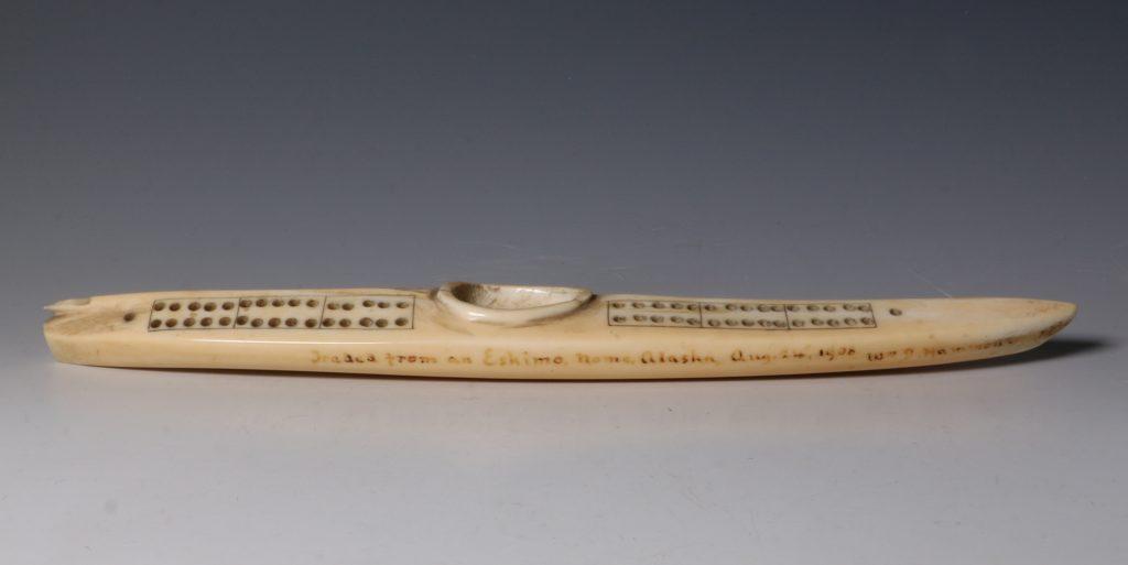 Eskimo Marine Ivory Cribbage Board 19/20thC