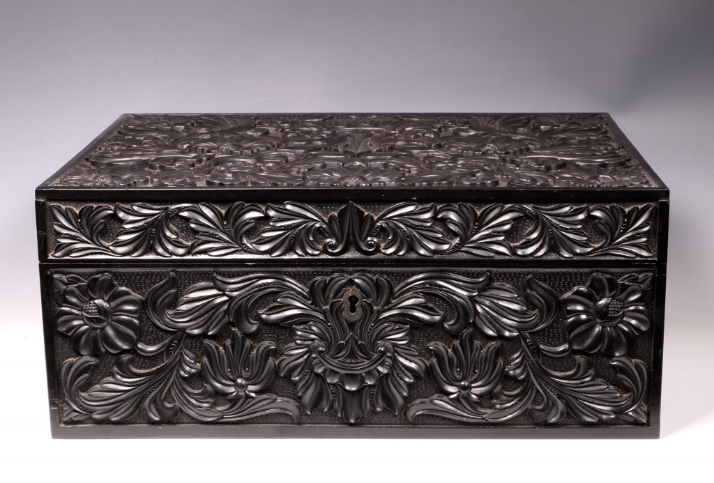Carved Ebony Box Sri Lanka C1840/50