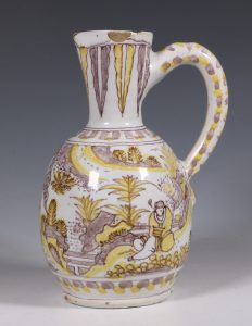 A Small Frankfurt or Hanau Faience Jug L17thC