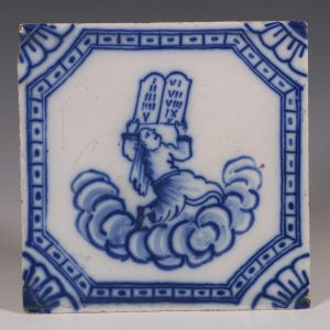 A English Delft Biblical Tile C1740/60