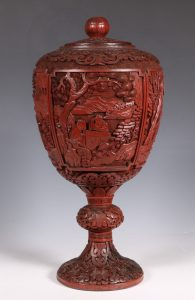 Chinese Cinnabar Lacquer Urn and Cover 19thC