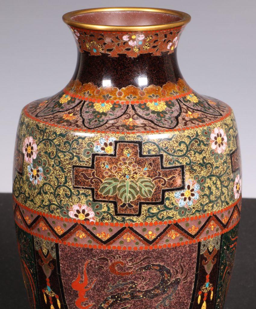 Japanese Cloisonne Vase Meiji 8