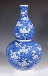 A Large Blue and White Prunus Double Gourd Vase L19thC