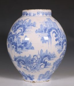 German Faience Blue and White Jar L17thC
