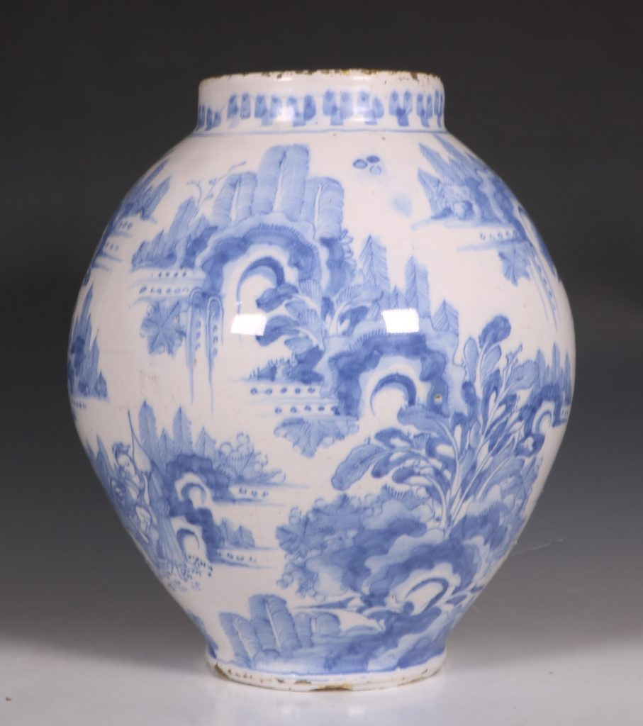German Faience Blue and White Jar L17thC 1