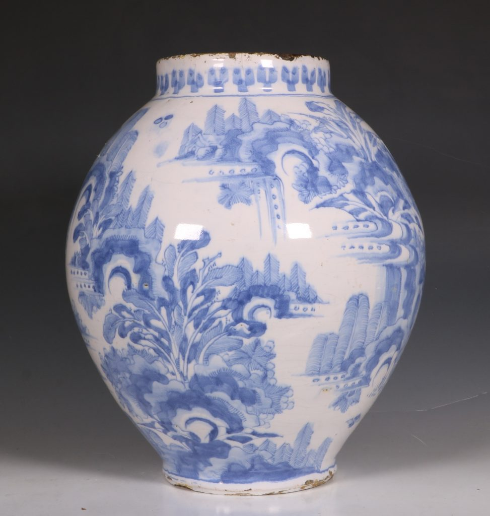German Faience Blue and White Jar L17thC 2