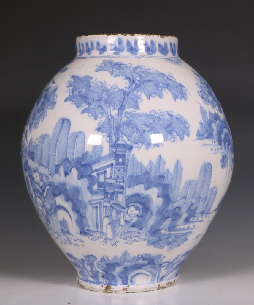 German Faience Blue and White Jar L17thC 4
