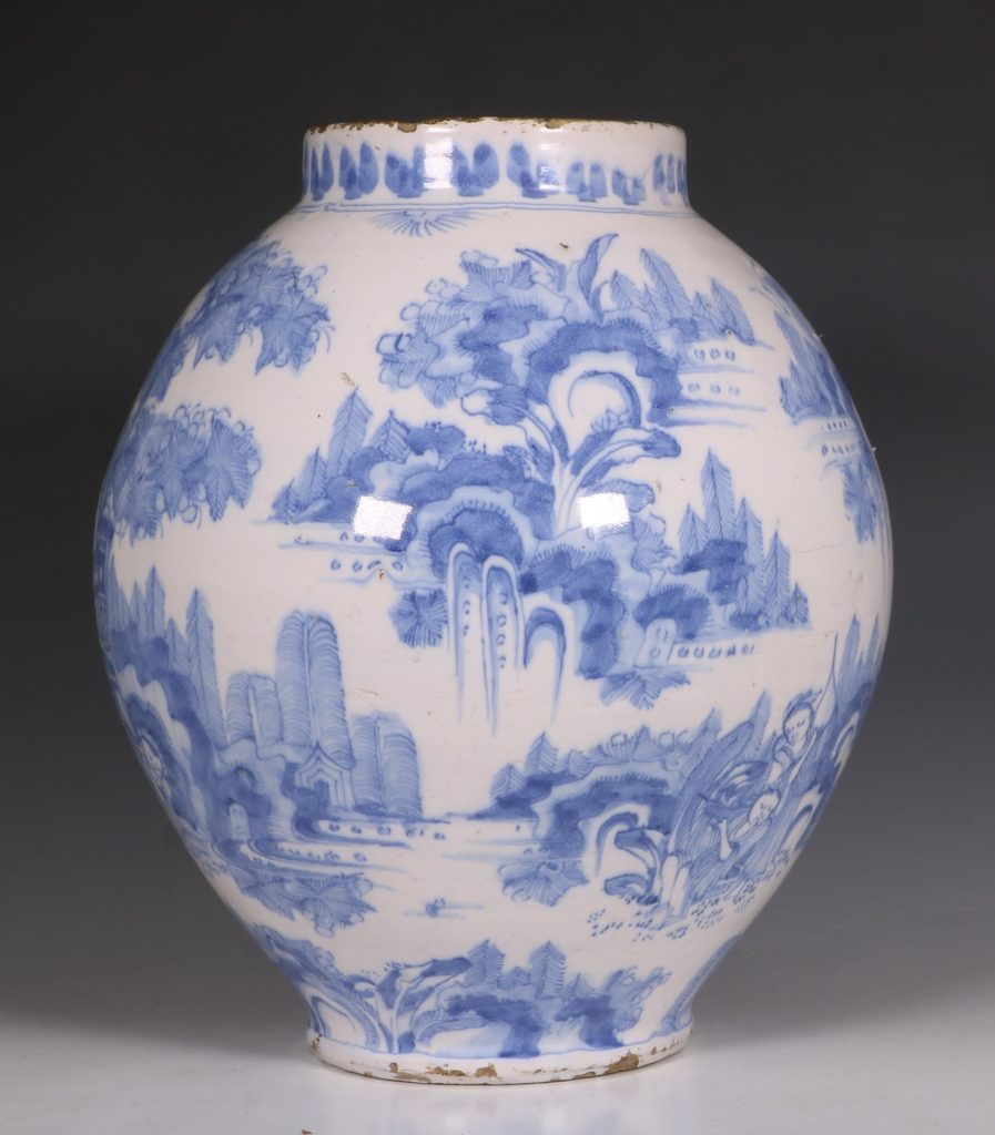 German Faience Blue and White Jar L17thC 5