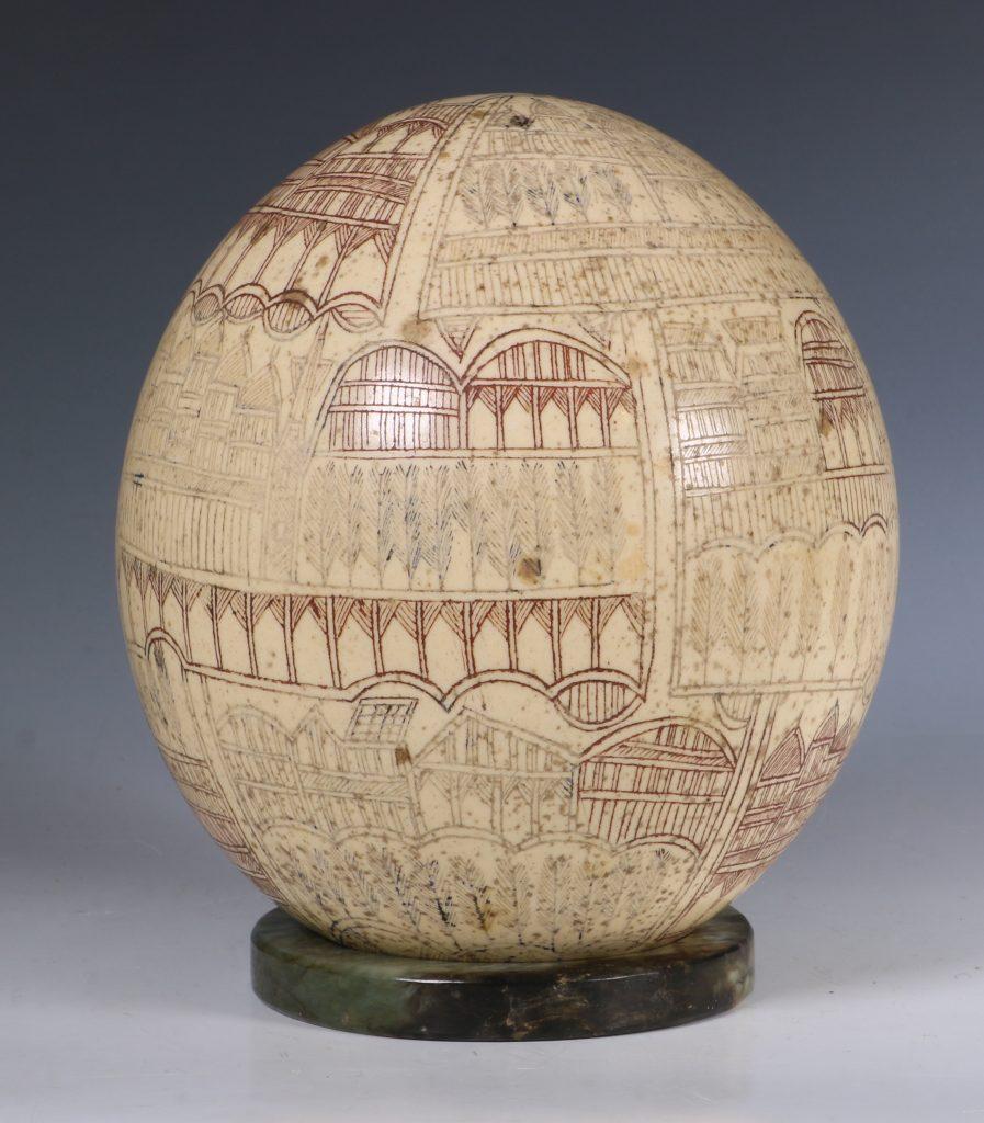 An Ottoman Engraved Ostrich Egg Turkey 18/19thC 1