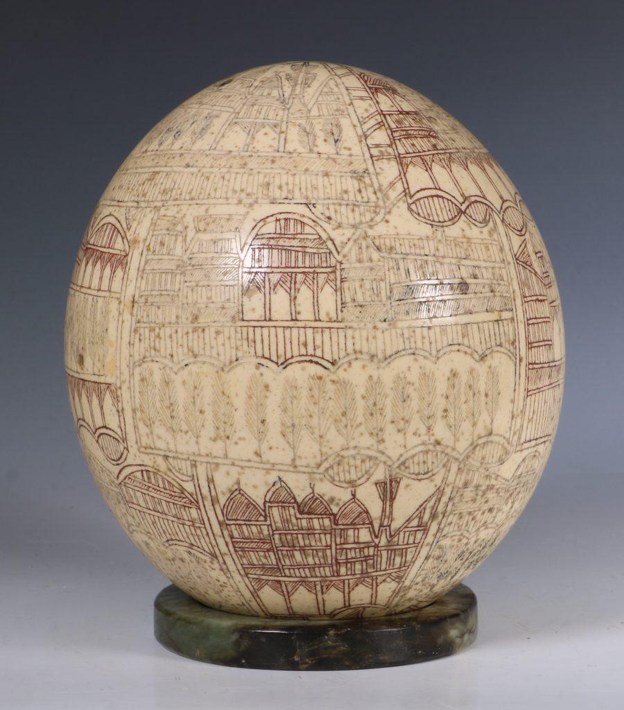 An Ottoman Engraved Ostrich Egg Turkey 18/19thC 2