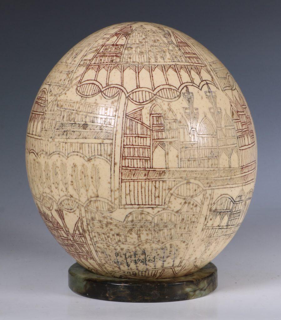 An Ottoman Engraved Ostrich Egg Turkey 18/19thC 3