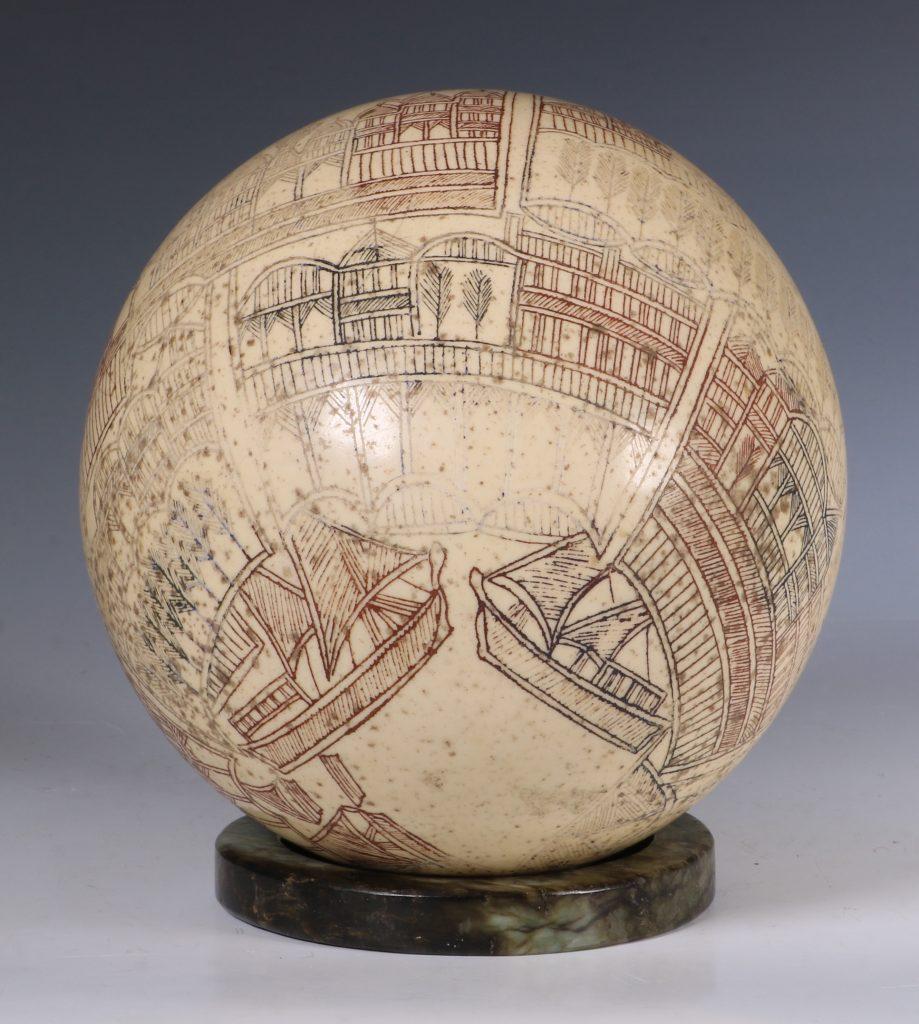 An Ottoman Engraved Ostrich Egg Turkey 18/19thC 6