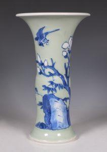 A Blue and White Celadon Ground Vase Kangxi C1700