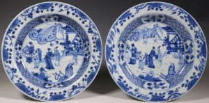 Pair of Blue and White Deep Dishes Yongzheng E18thC