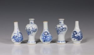 Garniture of Five Miniature Blue and White Vases Kangxi