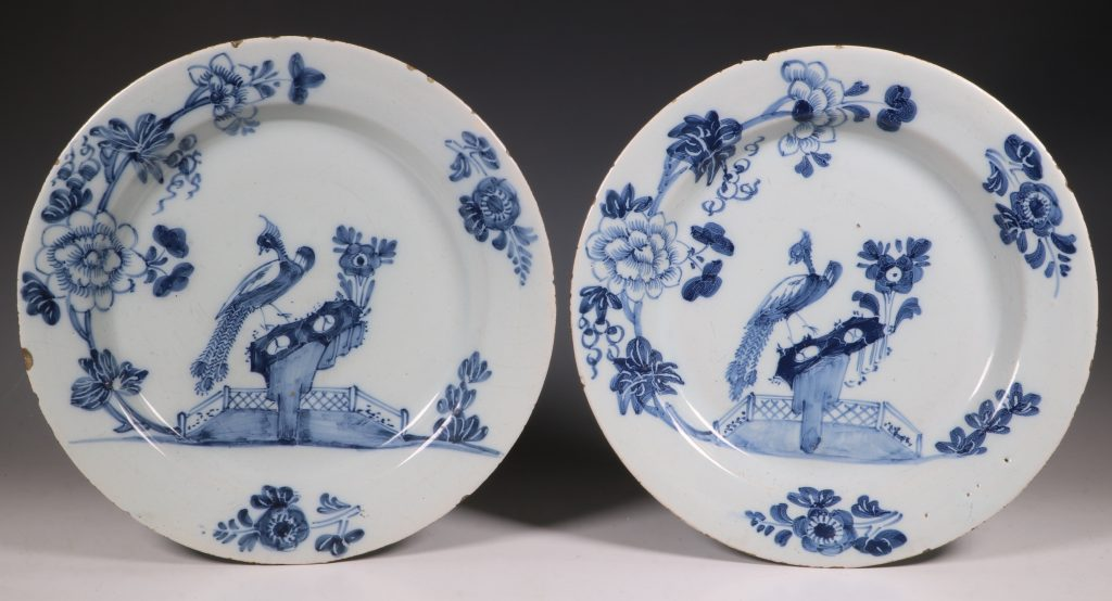 Pair of English Delft Peacock Plates 18thC