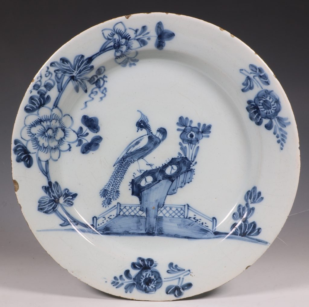 Pair of English Delft Peacock Plates 18thC 1